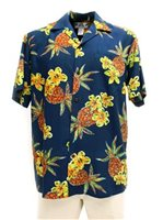 Two Palms Hale Kahiki Navy Rayon Men's Hawaiian Shirt