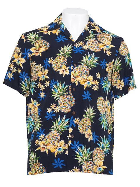 900f5df4fd Golden Pineapple Navy Rayon Men's Hawaiian Shirt