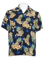 Two Palms Golden Pineapple Navy Rayon Men's Hawaiian Shirt