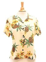 Two Palms Hale Kahiki Cream Rayon Women's Hawaiian Shirt