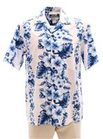 Two Palms Pacific Panel White Cotton Men's Hawaiian Shirt