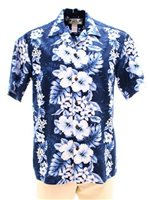 Two Palms Pacific Panel Navy Cotton Men's Hawaiian Shirt