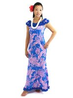 [Exclusive] Anuenue Protea & Monstera Turquoise & Pink Poly Cotton Hawaiian Nahenahe Ruffle Long Muumuu Dress