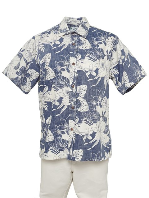 364d047f Two Palms Orchid Monstera Navy Cotton Men's Reverse Printing Hawaiian Shirt