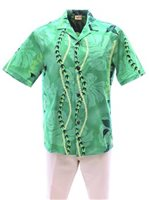Royal Hawaiian Creations Monstera Lei Green Poly Cotton Men's Hawaiian Shirt