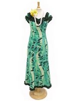 Royal Hawaiian Creations Monstera Lei Green Poly Cotton Hawaiian Nahenahe Ruffle Long Muumuu Dress