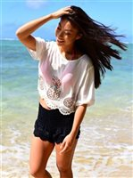 Angels by the Sea Kaina Pineapple  White Crop Top