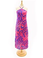[Exclusive] Anuenue Tiare Tapa Wave Pink & Purple Poly Cotton Hawaiian Slit Long Dress