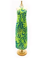 [Exclusive] Anuenue Tiare Tapa Wave Green & Turquoise PolyCotton Hawaiian Slit Long Dress