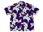Paradise Found Calla Lily Purple Rayon Men's Hawaiian Shirt