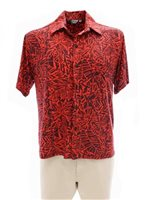 [Exclusive] Iolani Batik  Tangerine Stretch Men's Knit Hawaiian Shirt