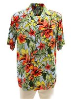 Two Palms Starburst-Lt Blue Rayon Men's Hawaiian Shirt