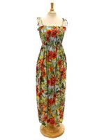 Two Palms Starburst-Lt Blue Rayon Hawaiian Summer Maxi Dress