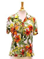Two Palms Starburst-Lt White Rayon Women's Hawaiian Shirt