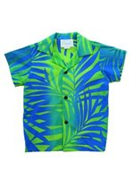 [Exclusive] Anuenue Ginger Lime & Turquoise Poly Cotton Boys Hawaiian Shirt
