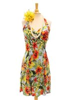 Two Palms Starburst-Lt Blue Rayon Hawaiian Halter Neck Short Dress
