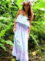 Angels by the Sea Tie Dye Aqua Ruffle Maxi Dress