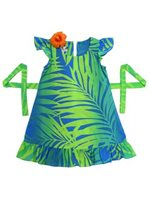 [Exclusive] Anuenue Ginger Lime & Turquoise Girls Hawaiian Dress