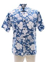 Two Palms Pineapple Pareau Blue Cotton Men's Reverse Printing Hawaiian Shirt