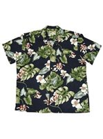 Paradise Found Monstera Orchid Navy Rayon Men's Hawaiian Shirt