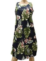 Paradise Found Monstera Orchid Navy Rayon Hawaiian A-Line Tank Short Dress