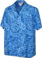Pacific Legend Monstera Plumeria Blue Cotton Men's Hawaiian Shirt