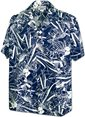 Pacific Legend Hawaiian plants Navy Cotton Men's Hawaiian Shirt