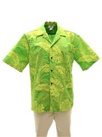 Good Times Monstera Kiwi Poly Cotton Men's Open Collar Hawaiian Shirt