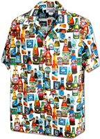 Pacific Legend Chilled Beer White Cotton Men's Hawaiian Shirt