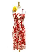 Hibiscus Red Rayon Hawaiian Summer Midi Dress