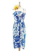 Hibiscus Blue Rayon Hawaiian Summer Midi Dress