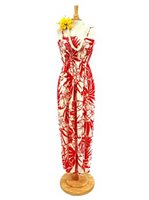 Hibiscus Red Rayon Hawaiian Summer Maxi Dress