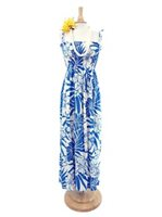 Hibiscus Blue Rayon Hawaiian Summer Maxi Dress