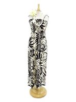 Hibiscus Black Rayon Hawaiian Summer Maxi Dress