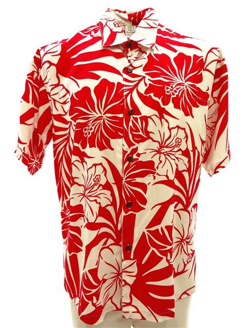bad1649d3 Hibiscus Red Rayon Men's Hawaiian Shirt | AlohaOutlet