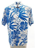 Hibiscus Blue Rayon Men's Hawaiian Shirt