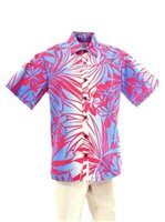 [Exclusive] Anuenue Hibiscus & Plumeria Fuchsia & Cream Poly Cotton Men's Hawaiian Shirt