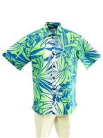[Exclusive] Anuenue Hibiscus&Plumeria Blue&Cream Poly Cotton Men's Hawaiian Shirt