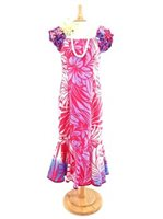 [Exclusive] Anuenue Hibiscus & Plumeria Fuchsia & Cream Poly Cotton Hawaiian Frill Puff Mermaid Long Dress