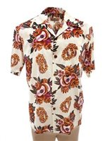 Pineapple Juice Ukulele Lei White Rayon Men's Hawaiian Shirt