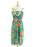 Hibiscus & Plumeria Teal Rayon Hawaiian Summer Mini Dress