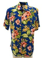 Hibiscus & Plumeria Blue Rayon Men's Hawaiian Shirt