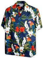 Pacific Legend Birds & Hibiscus Navy Cotton Men's Hawaiian Shirt