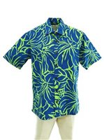 [Exclusive] Anuenue Lithographic Hibiscus Blue & Lime Poly Cotton Men's Hawaiian Shirt