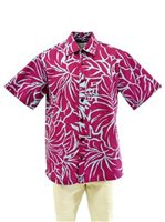 [Exclusive] Anuenue Lithographic Hibiscus Plum & Peri Poly Cotton Men's Hawaiian Shirt