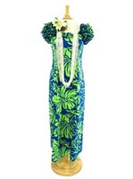 [Exclusive] Anuenue Lithographic Hibiscus Blue & Lime Poly Cotton Hawaiian Ruffle Shoulder Long Dress