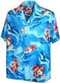 Pacific Legend Hibiscus on the sea Blue Cotton Men's Hawaiian Shirt