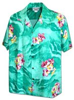Pacific Legend Hibiscus on the sea Green Cotton Men's Hawaiian Shirt