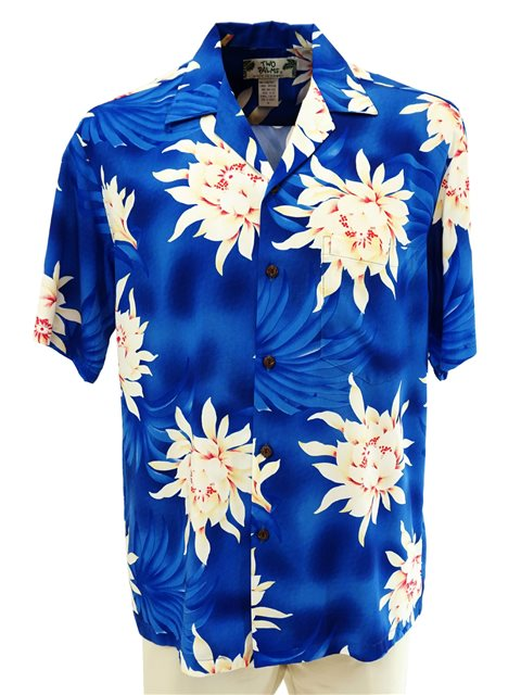 7c708bc1bf Two Palms Night Blooming Blue Rayon Men's Hawaiian Shirt | AlohaOutlet