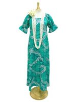 [Exclusive] Anuenue Pua Kenikeni Lei Teal Poly Cotton Hawaiian Long Muumuu Dress